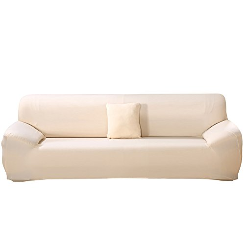 Stretch Sofa Cover - Sofa Covers Slipcover Sofa - 1-Piece 4 Seater Furniture Protector Polyester Spandex Fabric Slipcover With a Pillow Cover for Children and Pets White - 4 Seater Leather Sofas