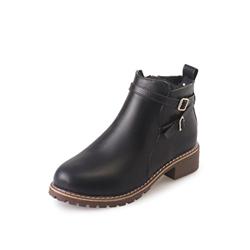 Snow Boots Toes PU Women Autumn Boots Boots Clode® Ankle Rain Flat Ladies Warm Winter Round Leather Black Womens 6WqdB6