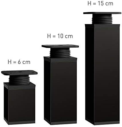 Tornillos incluidos   Material: Aluminio Perfil cuadrado: 40 x 40 mm Altura: 60mm altura regulable +20mm 4 piezas Dise/ño: Negro Mate Patas para muebles Sossai/® MFV1-BM