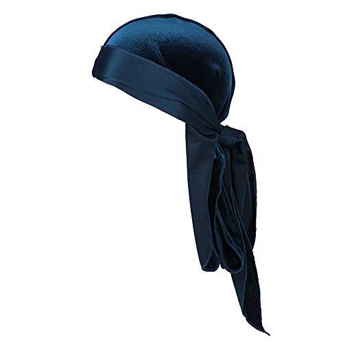 ITODAUS Unisex Velvet Durag Wave Cap Head Scarf Long Tail Headwrap Headband Pirate Wave Cap Premium Silky Soft Headwraps Durag Cap Bandana
