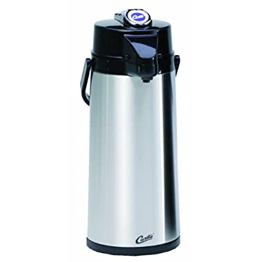 Wilbur Curtis Thermal Dispenser Air Pot, 2.2L S.S. Body Glass Liner Lever Pump - Commercial Airpot Pourpot Beverage Dispenser - TLXA2201G000 (Each)