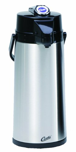 Wilbur Curtis Thermal Dispenser Air Pot, 2.2L S.S. Body S.S. Liner Lever Pump - Commercial Airpot Pourpot Beverage Dispenser - TLXA2201S000 (Each)