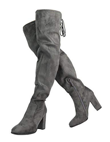 Heels High Thigh Heel High - DREAM PAIRS Women's New Shoo Grey Over The Knee High Heel Boots Size 11 B(M) US