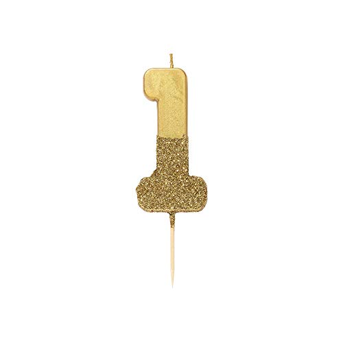 """Talking Tables 1 Number 1 Birthday Candle Cake Topper, Height 8cm, 3"""", Gold"""