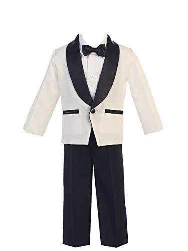 Lito Childrens Wear Ivory & Black Dinner Jacket w/Pants 4 PC Tuxedo -