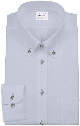 ワイシャツ 軽井沢シャツ [A10KZBB40]ボタンダウン ライトグレー市松模様 スーパーノーアイロン らくらくオーダー受注生産商品