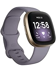 Fitbit Versa 3 Health and Fitness Smartwatch, Amazon Exclusive Color, GPS, 24/7 Heart Rate, Alexa Built-in, 6+ Days Battery, Thistle/Gold, One Size (S & L Bands Included)