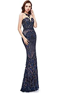 Heartgown Women's Sexy Sequins Mermaid Dresses Sleeveless Evening Dress Long Prom Party Gowns