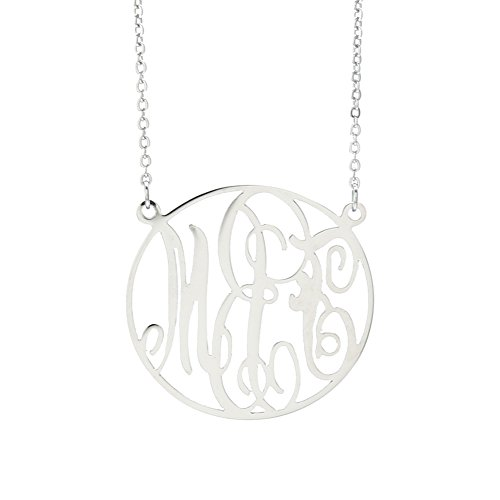 (Personalized Monogram Necklace Initial Pendant Necklace Stainless Steel Hanging Woman (Silver 1))
