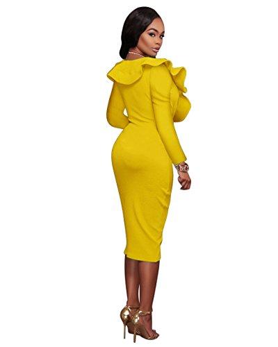 Ginocchio Verttee Sleeve Senza Profondo Partito Donna Yellow Abito Del V Maniche Cocktail With Corti Vestiti Long YHq1Y