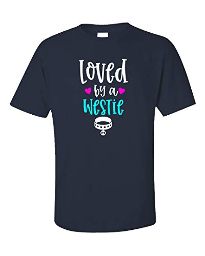 (MESS Loved by A Westie Dog Lover - Unisex T-Shirt Navy)