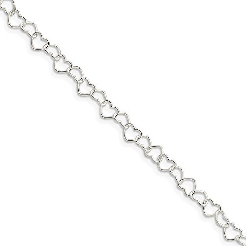 (925 Sterling Silver 0.6mm Heart Link Anklet Ankle Beach Chain Bracelet Fine Jewelry Gifts For Women For Her)