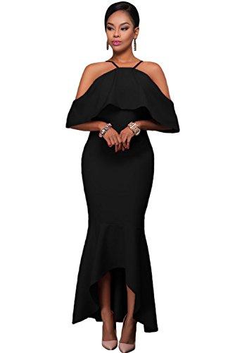 Elegante señoras negro volantes Off hombro alta baja dobladillo vestido de noche cóctel Prom partido danza Club Wear tamaño S UK 8–�?0EU 36–�?8