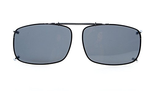 Eyekepper Large Clip On Sunglasses With Spring Draw Bar Polarized Grey Lens 2 5/16