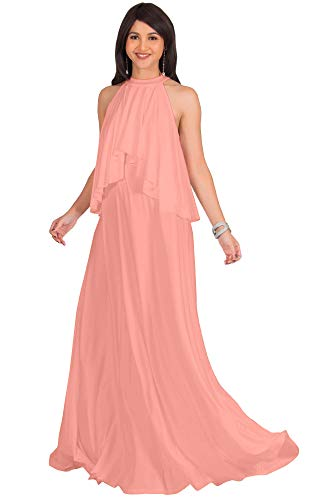 - KOH KOH Plus Size Womens Long Sleeveless Halter Neck Flowy Bridesmaid Bridal Cocktail Spring Summer Beach Wedding Party Guest Floor-Length Gown Gowns Maxi Dress Dresses, Light Pink Peach XL 14-16