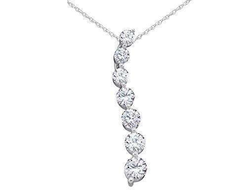 Pendant Diamond Carat Journey 1 - Diamond Journey Pendant Necklace 1.0 Carat (ctw) in 14K White Gold H-I, I1-I2