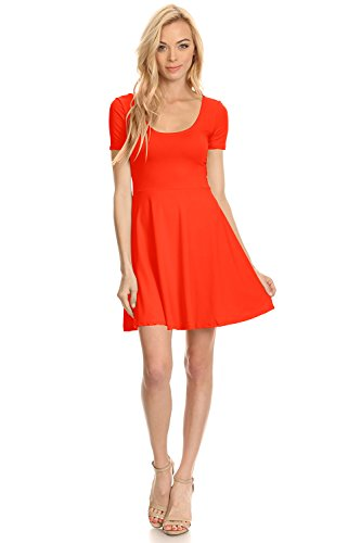 (Womens Casual Short Sleeve Cap Sleeve Fit and Flare A Line Skater T Shirt Dress, Small,)