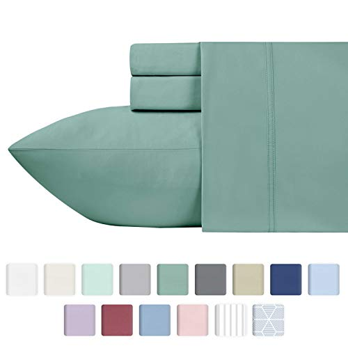 California Design Den 600 Thread Count 100% Cotton Sheets - Sage Long-Staple Cotton Twin Sheets, Fits Mattress Upto 17'' Deep Pocket, Sateen Weave, Soft Cotton 3 Piece Bed Sheets Set