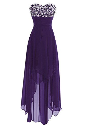 (Women's Chiffon Sweetheart Hi-Lo Bridesmaid Dresses Evening Party Prom Gown Deep Purple US12)