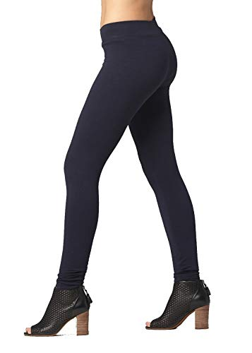 Premium Ultra Soft Stretch High Waisted Cotton Leggings for Women with Yoga Waistband - Full-Length Navy Blue - 3XL (Navy Cotton Spandex)