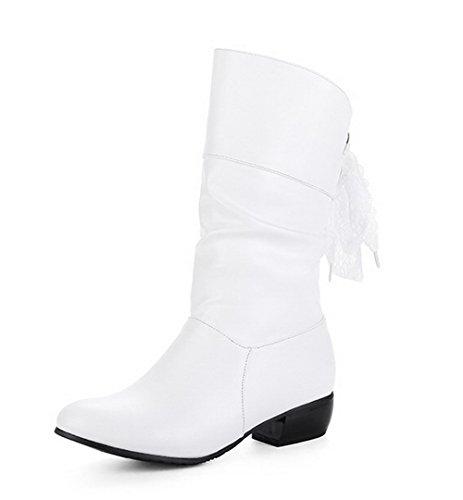 AllhqFashion Damen Hoher Absatz Rein Rund Zehe Ziehen auf Stiefel, Weiß, 35