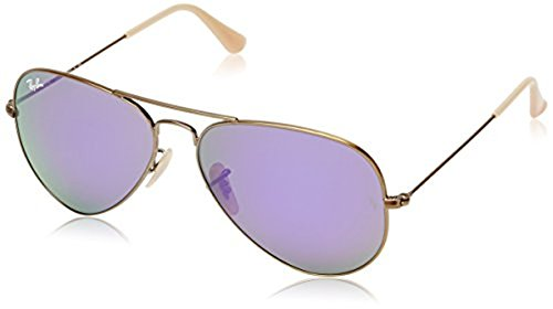 Ray-Ban Aviator Large Metal RB3025 Sunglasses Brushed Bronze Demi Shiny / Grey Mirror Purple 58mm & Cleaning Kit - Purple Ray Glasses Ban