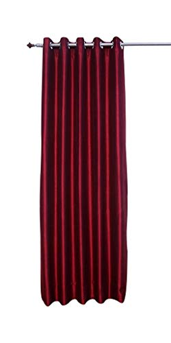 (Wine Red Faux Silk Satin Dupioni Curtains, Each 51