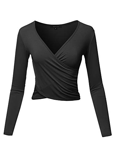 Long Sleeve Deep V Neck Cross Wrap Crop Top T Shirts Black M ()