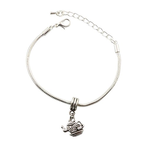 Tea Pot and Tea Cup with Swirls Snake Chain Charm Bracelet (Swirl Teacup)