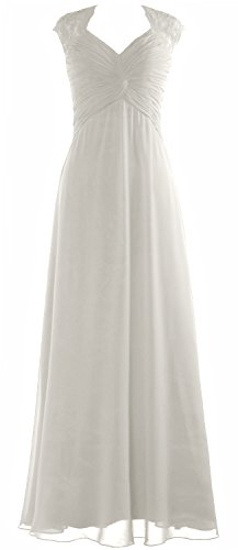 Women Gown Long Sleeve MACloth Dress Formal Chiffon Party Wedding Elfenbein Lace Prom Cap TIdPdwq