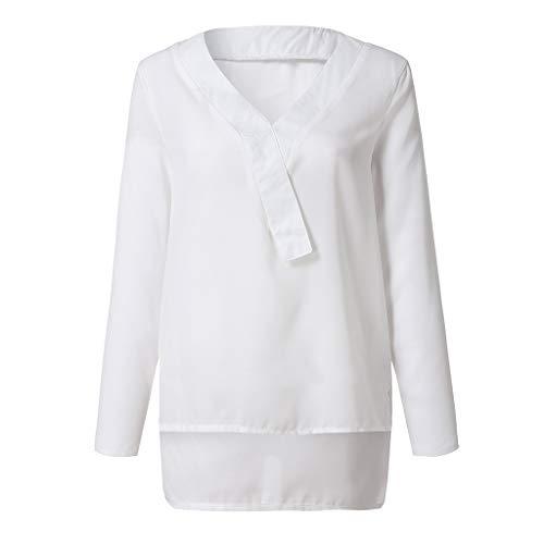 (Littay Womens Chiffon T-Shirt Fashion Long Sleeve V-Neck Casual Tops)