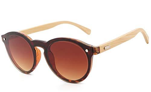 de Retro Personalidad Forma polarizadas de de Azul en Sol de Redondas Gafas corazón de Gafas Gafas de Brown bambú Sol piernas Madera XIYANG P48qz6n