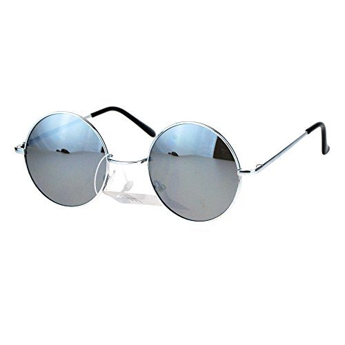 John Lennon Circle Lens mirrored Mirror Lens Wire Rim Round Sunglasses Silver - Sunglasses Round Mirrored