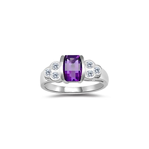 0.24 Cts Diamond & 7x5 mm Barrel-Cut Amethyst Ring in 14K White Gold-9.0
