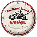 "Busted Knuckle Garage BKG-99 14"" Retro-Rider Biker Wall Clock"