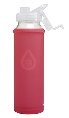 Eveau Glass Water Bottle with Bumperguard Silicone Sleeve, Wide Mouth Opening, Flip Top, 21 Ounce/630 ml Capacity - Coral