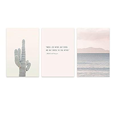 3 Panel Cactus and Coastal Mountains with Inspirational Quotes Gallery 16 x24 x 3 Panels