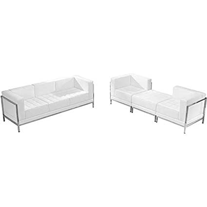 Wondrous Amazon Com Mikash 4 Piece Lounge Set With White Leather Ibusinesslaw Wood Chair Design Ideas Ibusinesslaworg