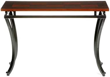 Modesto Sofa Console Table – Checkerboard Two Tone Wood Top – Black Metal Frame