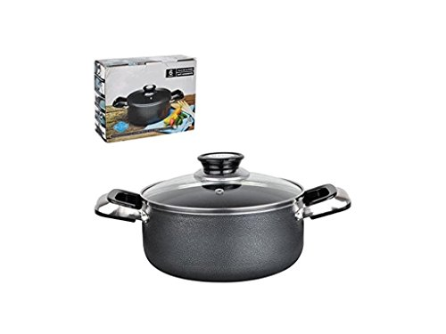 Home N Kitchenware Collection 13-Quart Aluminum Dutch Oven with Glass Lid, Non-stick Coating, Heavy Gauge (3.5mm), Anti Adherente, Grey