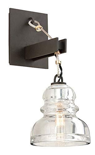 Troy Lighting Menlo Park 1-Light Wall Sconce - Deep Bronze Finish with Historic Pressed Clear Glass