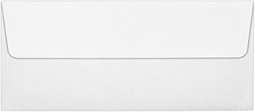 #10 Square Flap Envelopes (4 1/8 x 9 1/2) - White Linen (50 Qty) | Perfect for Checks, Invoices, Letterhead, Letters, Statements | 4860-WLI-50 - Fine Linen 10 Envelopes