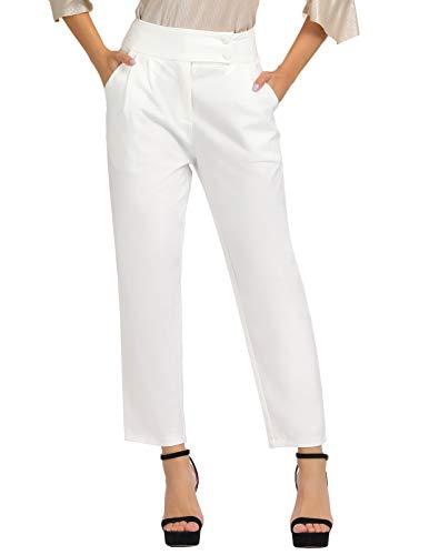 GRACE KARIN Women's Straight-Leg Pant Business Office Long Trouser White XL