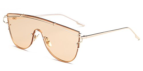 Cramilo Fashionable Futuristic Colored Flat Lens Top bar Oversize Round - Sunglasses When Sale Go Do On