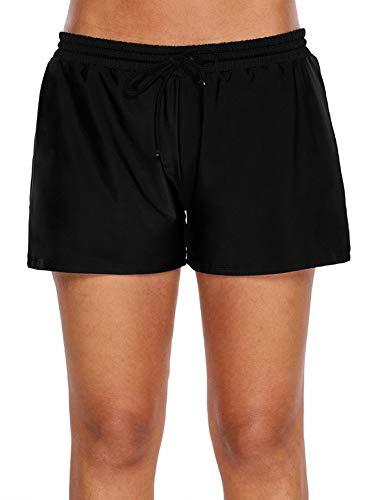 WILLBOND Women Swimsuit Shorts Tankini Swim Briefs Side Split Plus Size Bottom Boardshort Summer Beach Swimwear Trunks (XXL Size, Black 1)