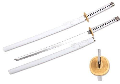 "Sparkfoam Sword 39"" Foam Samurai Sword White/Black Handle w/Wood Scabbard"