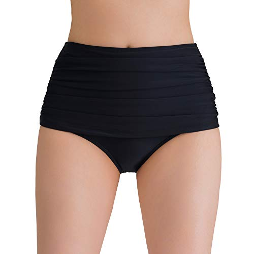 Women's Swimsuit Bottoms Tummy Control High Waist Ruched Swim Bikini Tankini Briefs Black