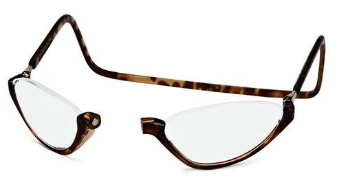 (Clic Sonoma Single Vision Half Frame Designer Reading Glasses, Light Tortoise, +1.75)