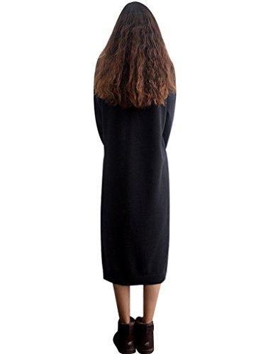 Youlee Mujeres Redondo Collar Largo Saltador Vestir Negro Fit EU 38-46