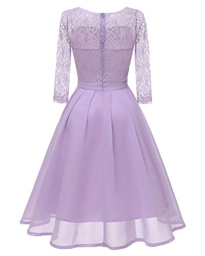 chiffon e pizzo gonna donna per in con 2 In viola 1 in Party Bright Dress top Deer wnS1CqOO